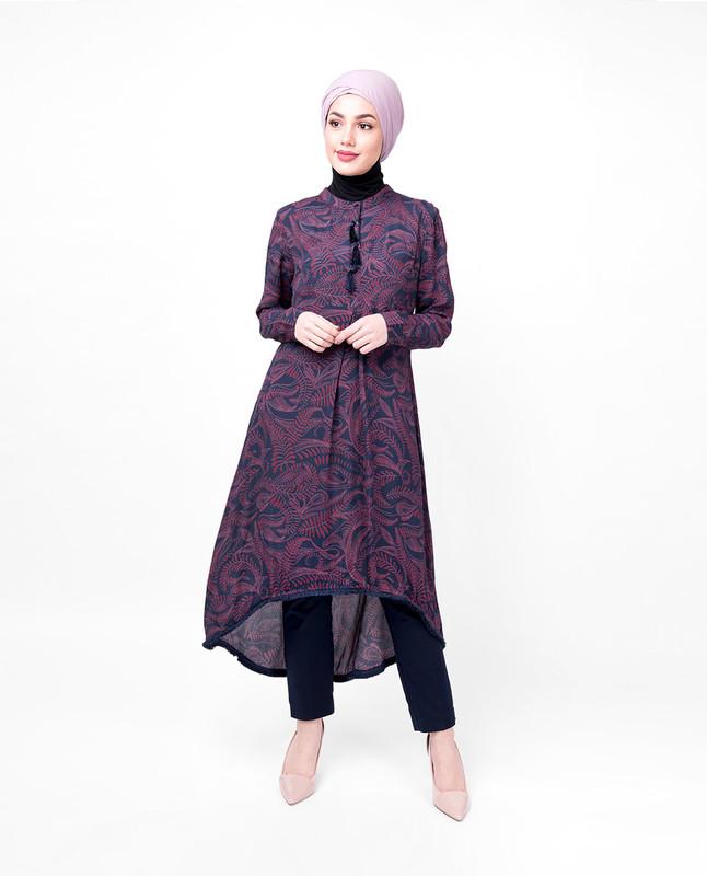 Floral Mandarin Collar High Low Midi Dress