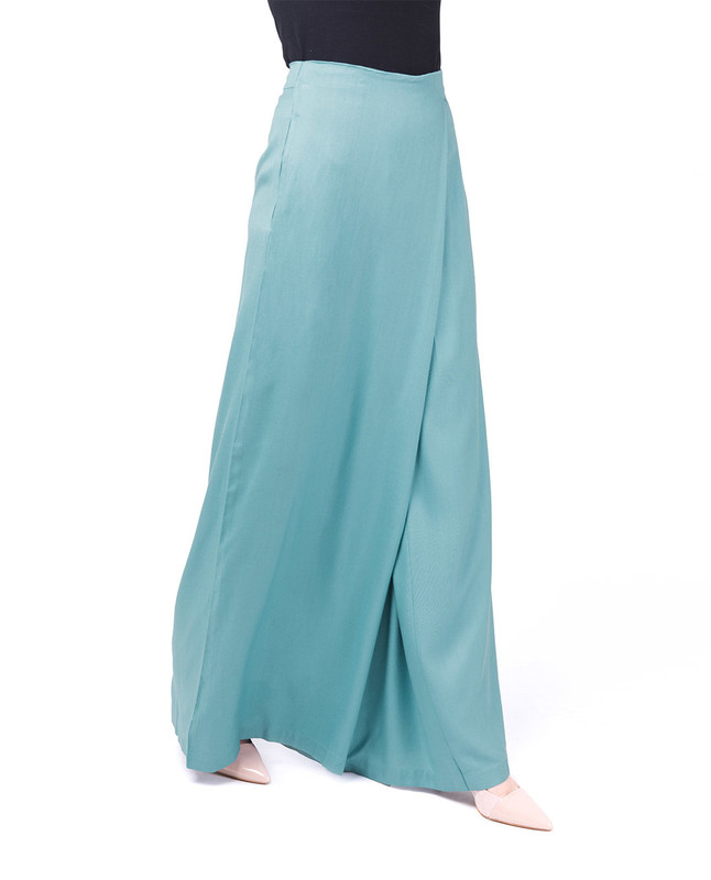 Overlap Wide Leg Smoke Blue Trouser