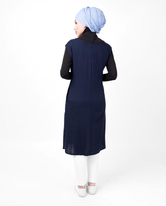 Boat Neck Blue Slip Dress
