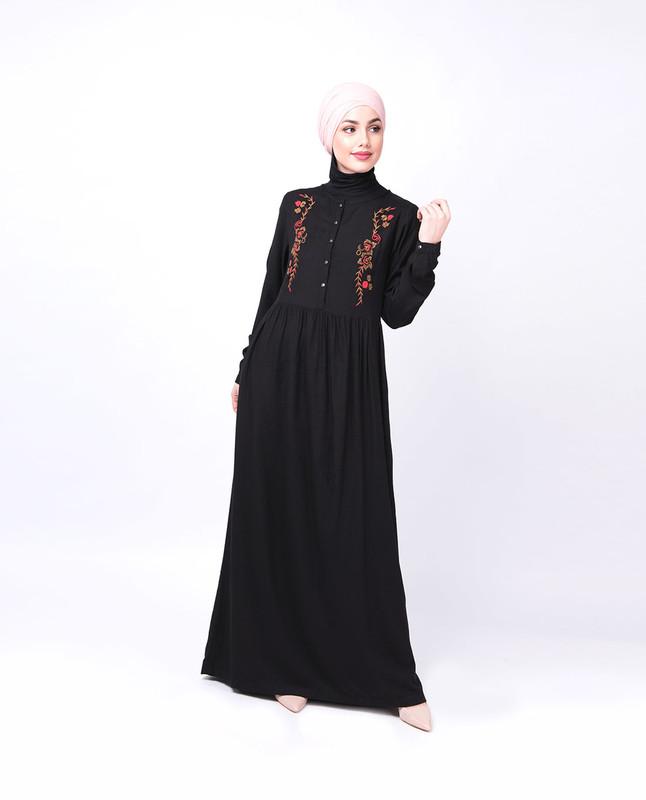 Black Floral Embroidered Abaya