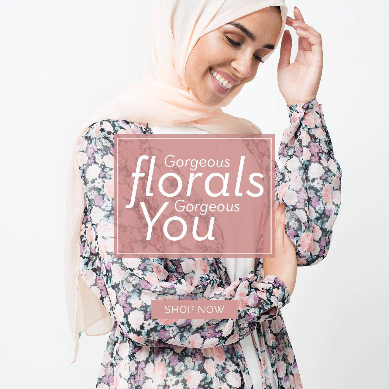 Modestwear floral outerwear
