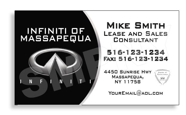 INFINITI OF MASSAPEQUA Card Printing Company NYC