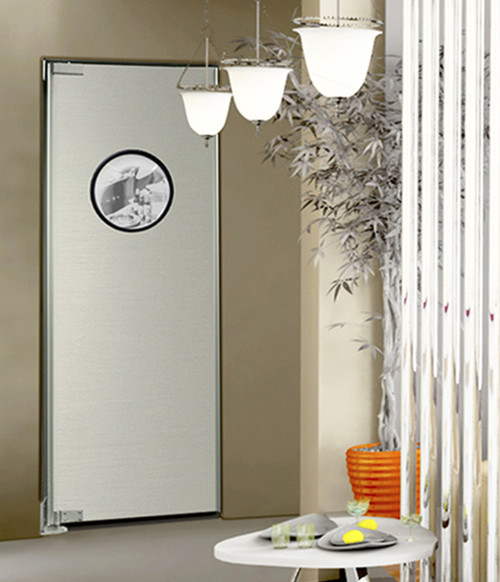 Traditional Wood Core Swing Door With Stainless Impact Plates
