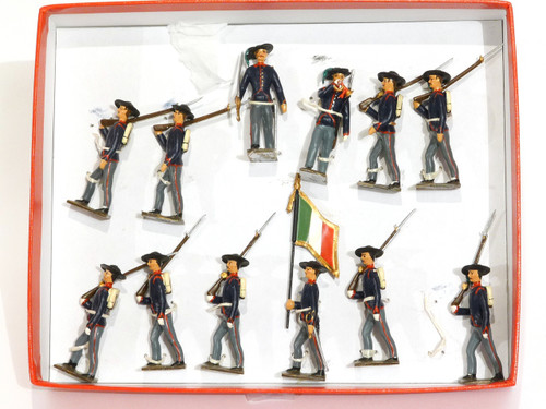 Mignot Toy Soldiers Italian Light Infantry 1880 Vintage Set 107