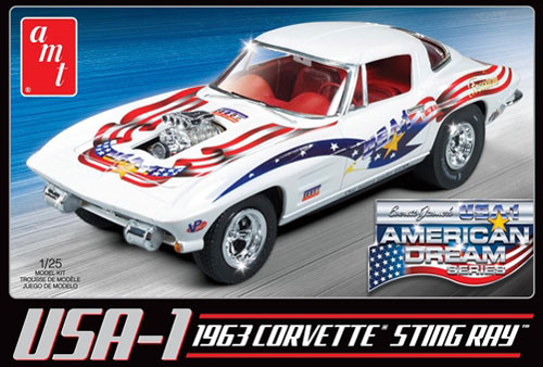 AMT909 USA-1 1963 Chevy Corvette 1-25 Scale Plastic Model Kit American Dream Series