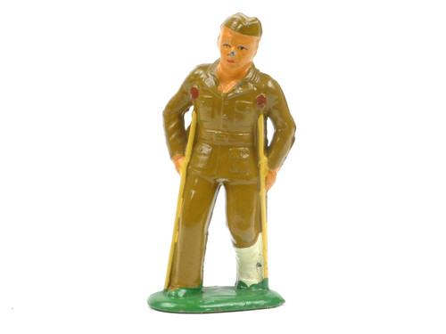 Barclay 119 Soldier Wounded with Crutches American Dimestore Toy Soldiers