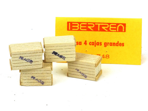 Ibertren #748 package of 4 each Wood Crates N/HO Scale Train Accessories