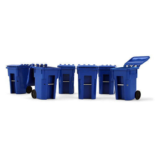 First Gear 1/34 scale Plastic Collectible Blue Trash Carts - Set of Six Carts (#90-0518)
