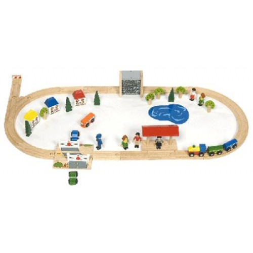 BigJigs Wooden Railway Village Train Set BJT011