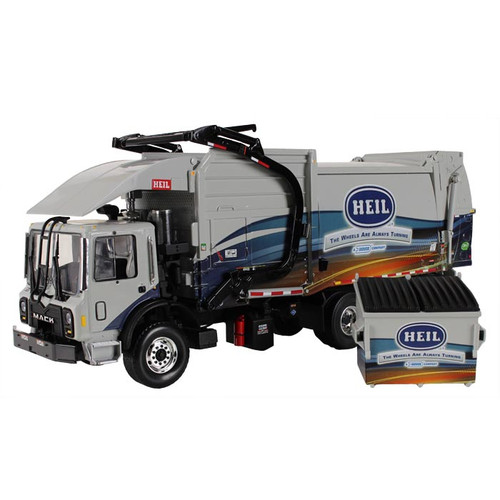 First Gear Diecast Collectible Mack TerraPro With Heil Half/Pack Freedom Front Loader With CNrG Tailgate Includes Trash Bin 1/34 Scale