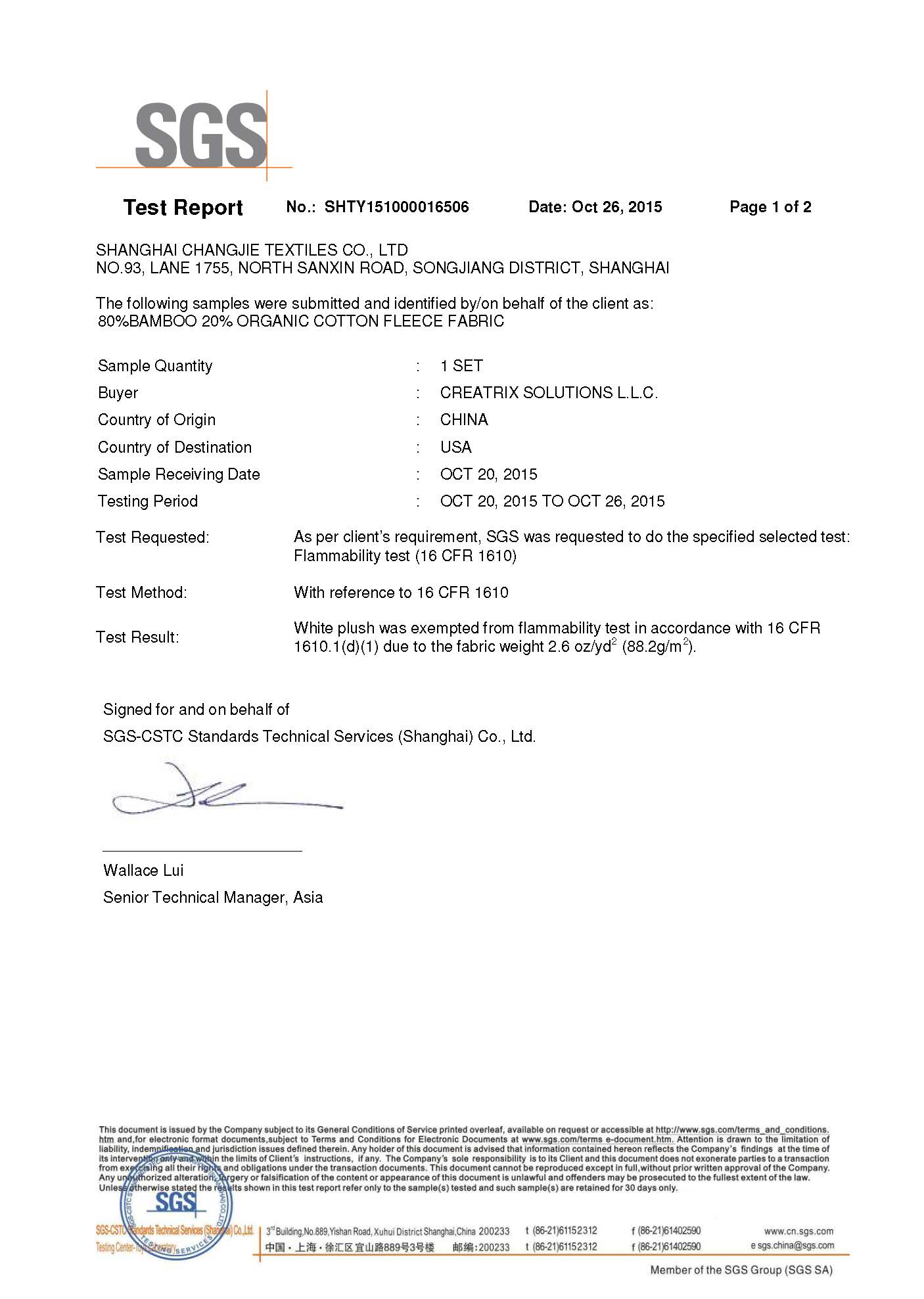 Bamboo Cotton Fleece Flammability Test Report Page 1