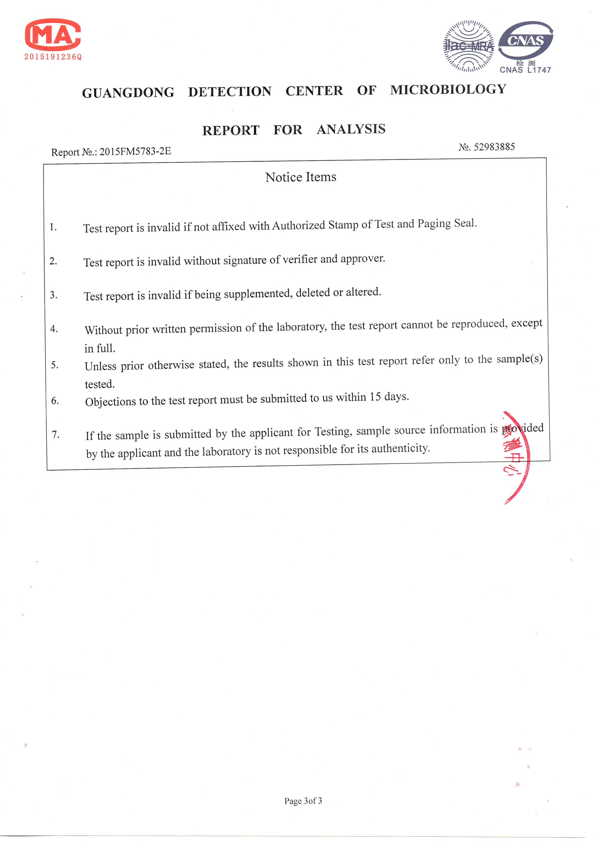 Breathe Safe VOCs Test Results Page 3