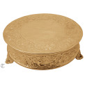 "18"" Round Goldplate Cake Stand, Floral Design"