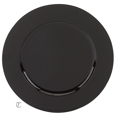 Black Round Charger Plate, Case of 24