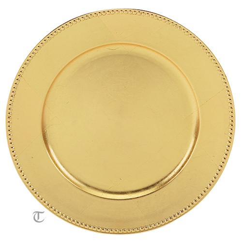 Gold Beaded Round Charger Plate, Case of 24