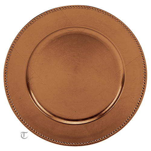 "13"" Copper Beaded Charger Plate, Sample"