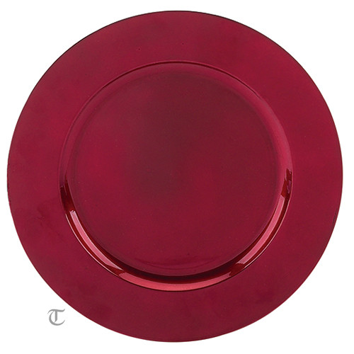 Laser Engraved Red Round Charger, Case of 12