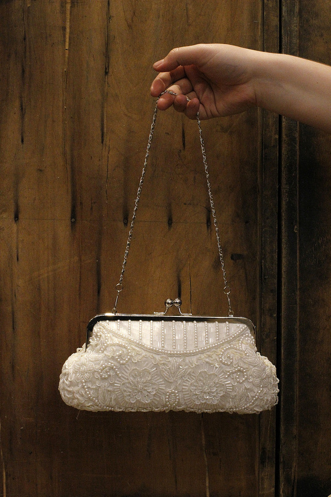 White Beaded Floral Clutch