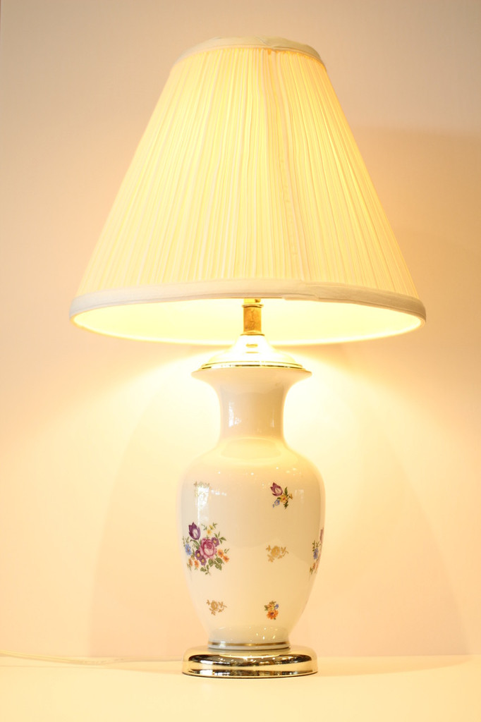 Table Lamp with Ceramic Base, Floral Decoration
