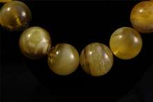 Amber - Yellow Creamy Round Graduated Beaded Necklace w/ Inclusions