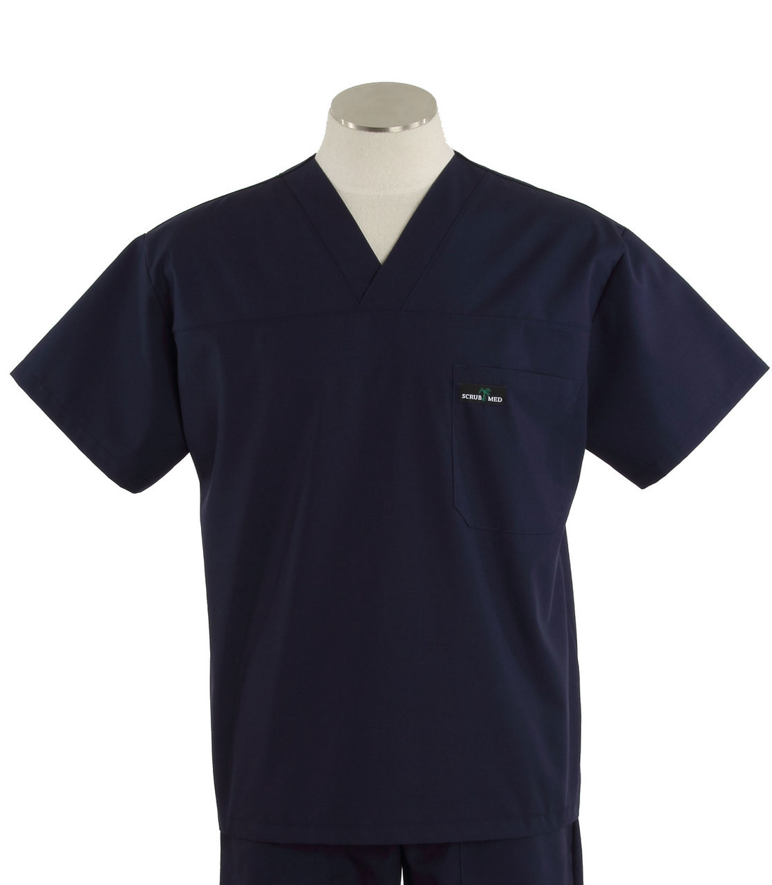 Scrub Med Mens Solid V-Neck Scrub Top Navy - Scrub Med