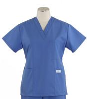 Scrub Med Womens Solid V-Poc Scrub Top Bimini Blue