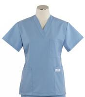 Scrub Med Womens Solid V-Poc Scrub Top Celestial Blue