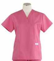 Scrub Med Womens Solid V-Poc Scrub Top Mesa Rose