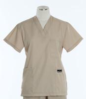 Scrub Med Womens Solid V-Poc Scrub Top Putty (ScrubLite)