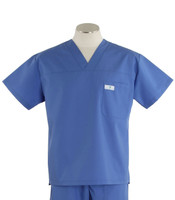 Scrub Med Mens Solid V-Neck Scrub Top Bimini Blue