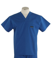 Scrub Med Mens Solid V-Neck Scrub Top Skipper Blue