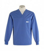 Scrub Med Mens Solid V-Neck Long Sleeve Scrub Top Bimini Blue