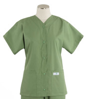 Scrub Med Womens Solid Baseball Scrub Top Bay Leaf