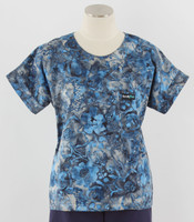 Scrub Med Womens Print Scrub Top Atlantic - Original Price: $31.00 - ALL SALES FINAL!