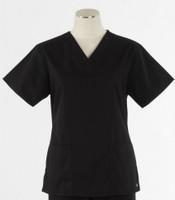 Maevn Womens Fit 2 Pocket V Neck Scrub Top Black