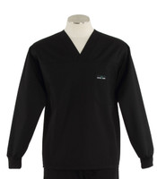 Scrub Med Mens Solid V-Neck Long Sleeve Scrub Top Black