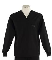 Scrub Med Mens Solid V-Neck Long Sleeve Scrub Top Black
