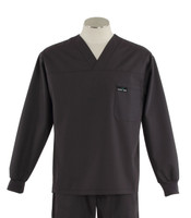 Scrub Med Mens Solid V-Neck Long Sleeve Scrub Top Charcoal