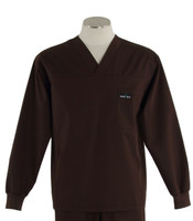 Scrub Med Mens Solid V-Neck Long Sleeve Scrub Top Dark Chocolate