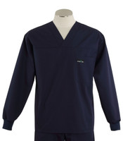 Scrub Med Mens Solid V-Neck Long Sleeve Scrub Top Navy