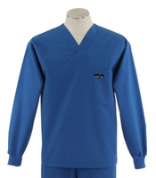 Scrub Med Mens Solid V-Neck Long Sleeve Scrub Top Skipper Blue