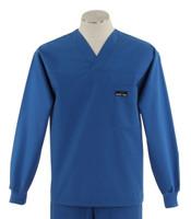 Scrub Med Mens Solid V-Neck Long Sleeve Scrub Top Skipper Blue