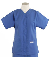 Scrub Med Womens Solid Baseball Scrub Top Bimini Blue