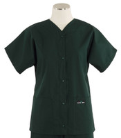 Scrub Med Womens Solid Baseball Scrub Top Forest Green