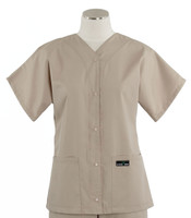 Scrub Med Womens Solid Baseball Scrub Top Khaki