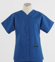 Scrub Med Womens Solid Baseball Scrub Top Skipper Blue