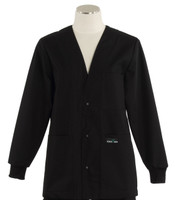 Scrub Med Womens Solid V-Neck Lab Jacket Black