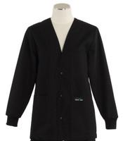 Scrub Med Womens Solid V-Neck Lab Jacket Black