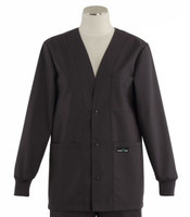 Scrub Med Womens Solid V-Neck Lab Jacket Charcoal