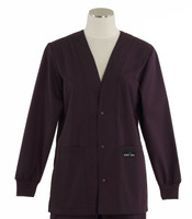 Scrub Med Womens Solid V-Neck Lab Jacket Eggplant